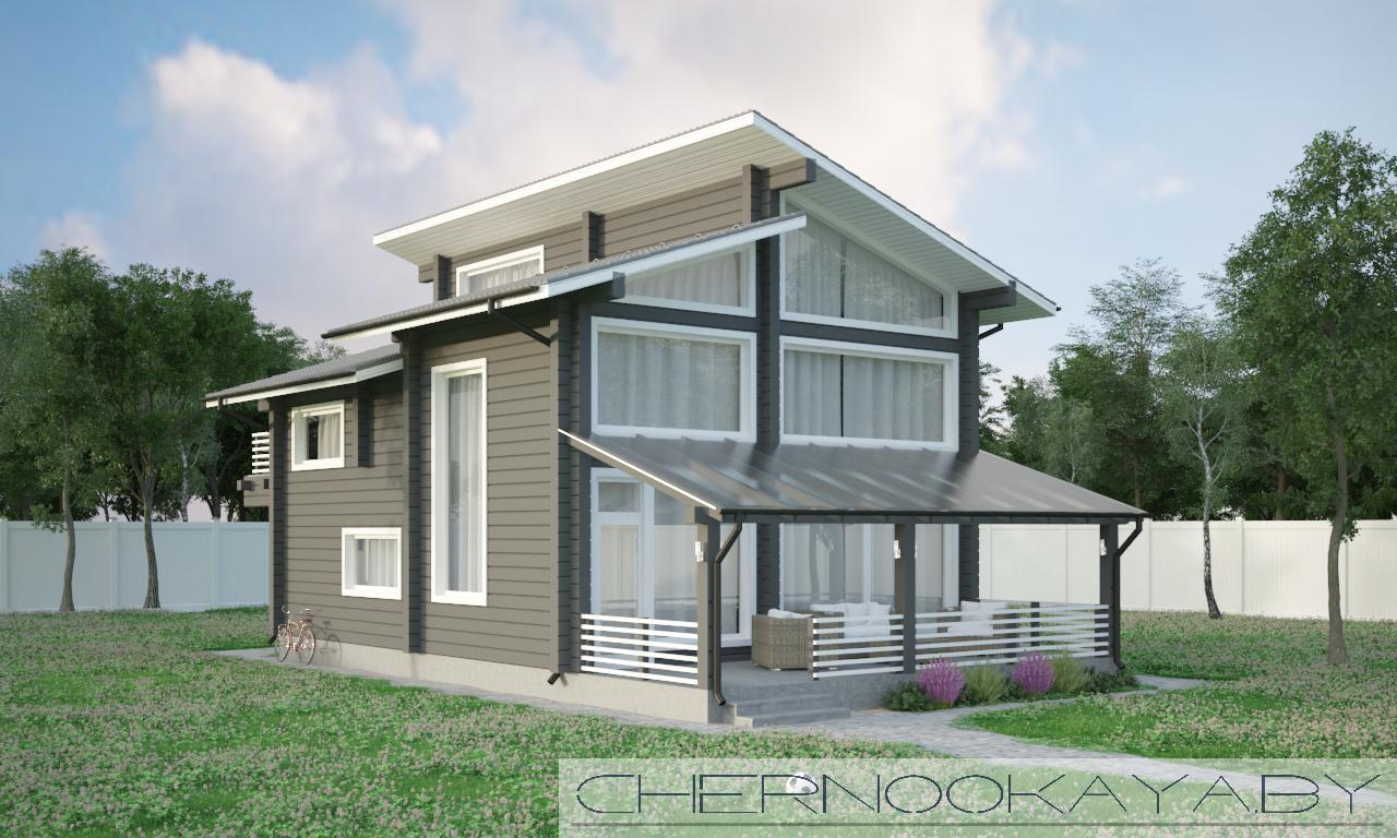 Проект деревянного дома №1572 фасад