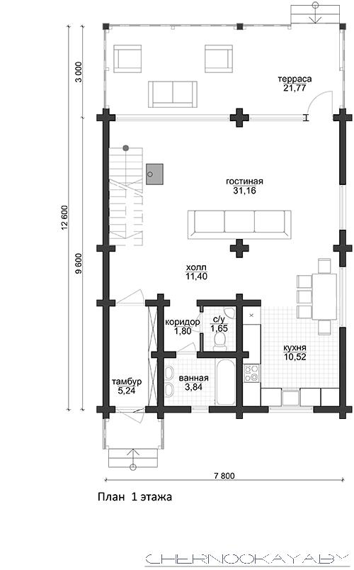 Проект деревянного дома №1572 план