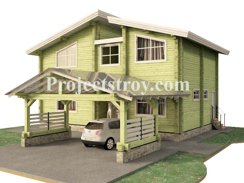 Дом из бруса с навесом под авто из поликарбоната фасад