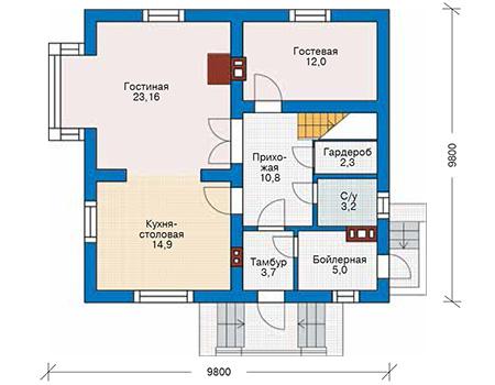 Проект кирпичного дома 42-71 план