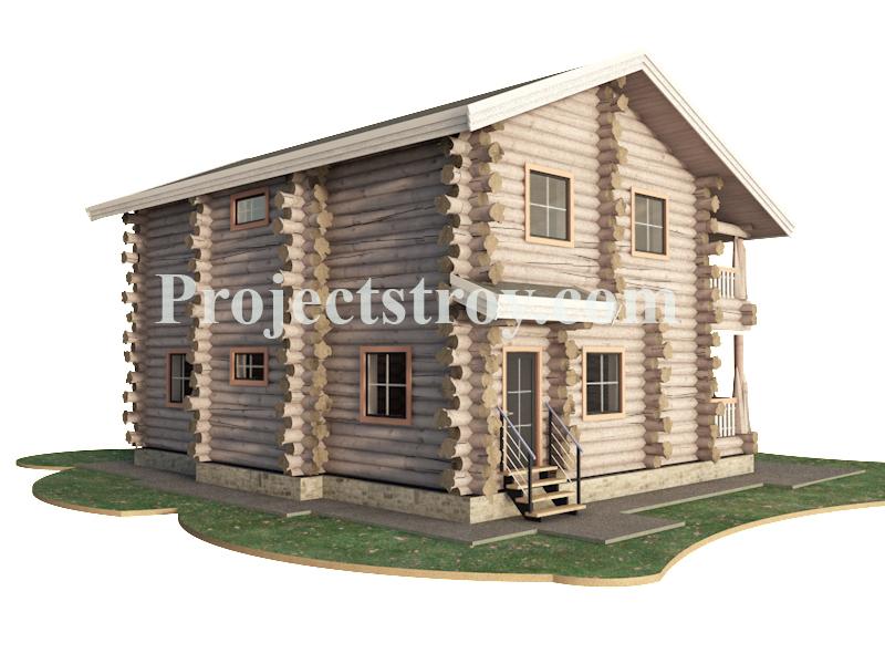 Проект дома из дикого бревна - канадский сруб фасад