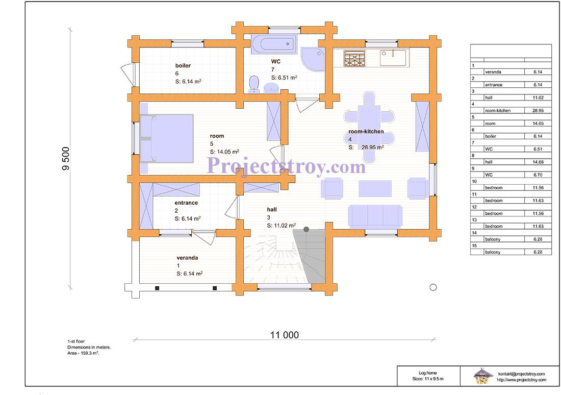 Проект дома из дикого бревна - канадский сруб план