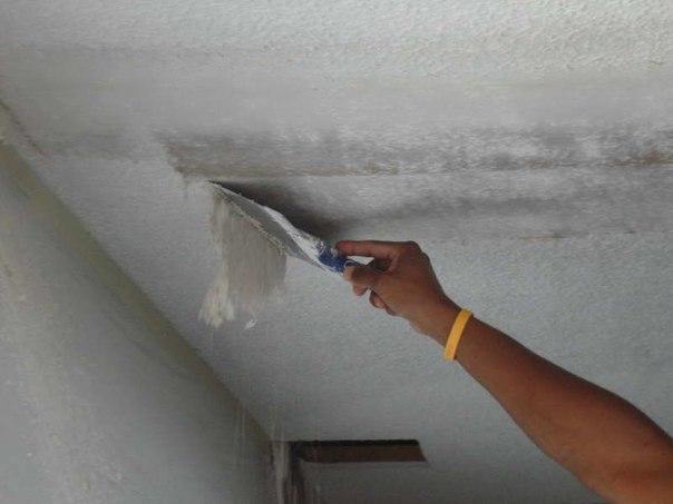 Как снять водоэмульсионную краску с потолка