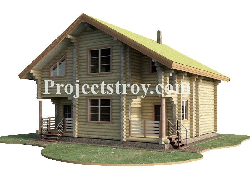 Проект бревенчатого дома из ОЦБ 260 мм фасад