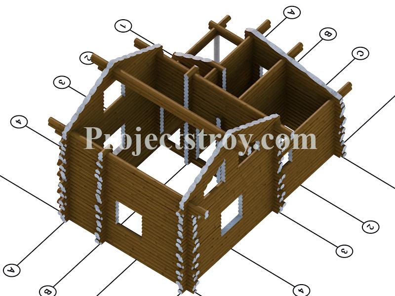 Проект двухэтажной бани из оцилиндрованного бревна фасад