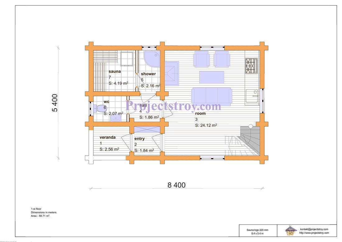Проект двухэтажной бани из оцилиндрованного бревна план