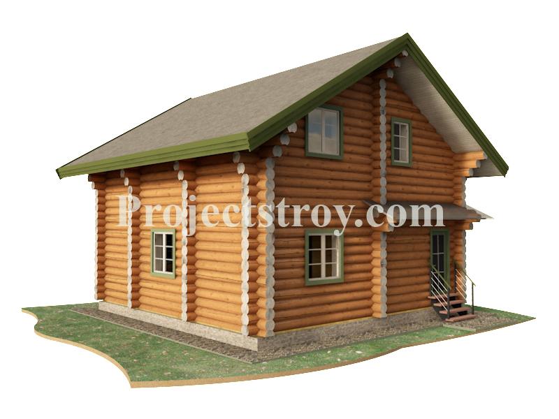 Популярный проект деревянного дома для дачи фасад
