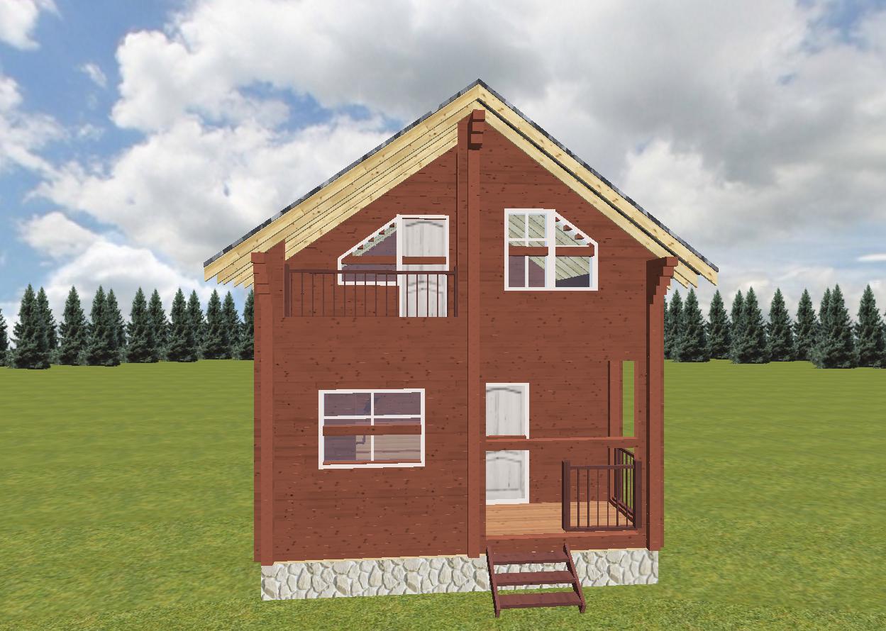 Дом-баня из профилированного бруса фасад