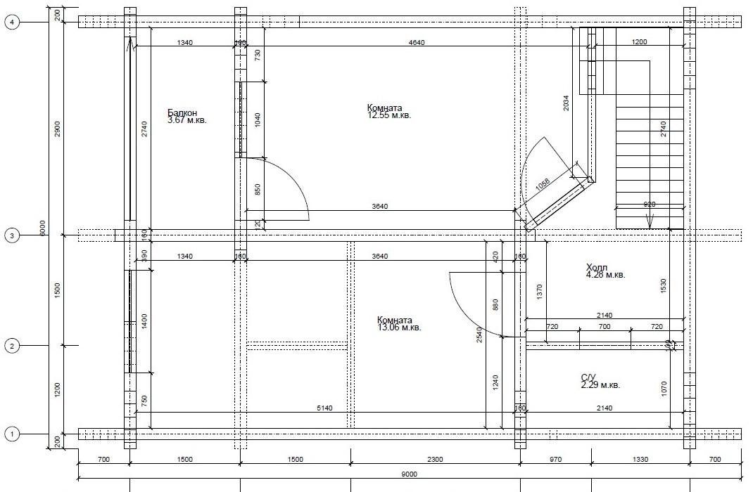 Дом-баня из профилированного бруса план