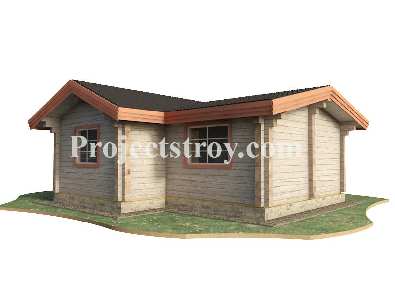 Проект одноэтажного дома из бруса 200х200 мм фасад