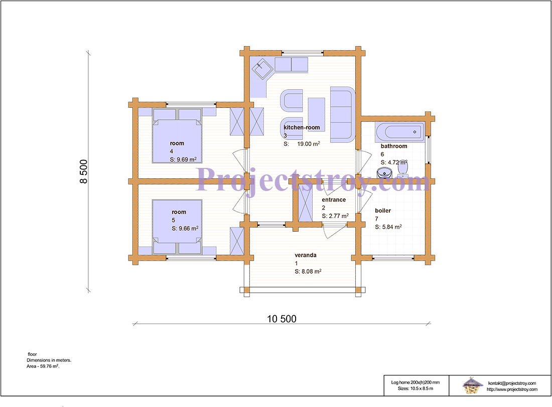 Проект одноэтажного дома из бруса 200х200 мм план