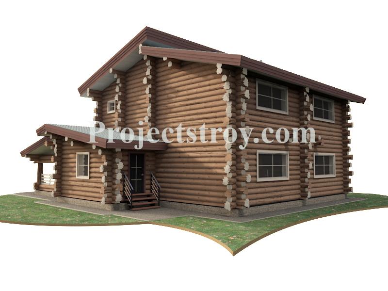 Дикий сруб - проект дома из бревна 280 мм фасад