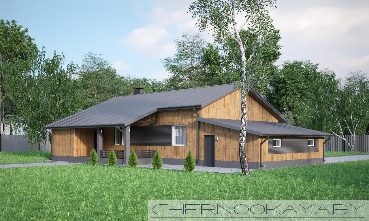 Проект одноэтажного жилого дома с гаражом 1581 фасад