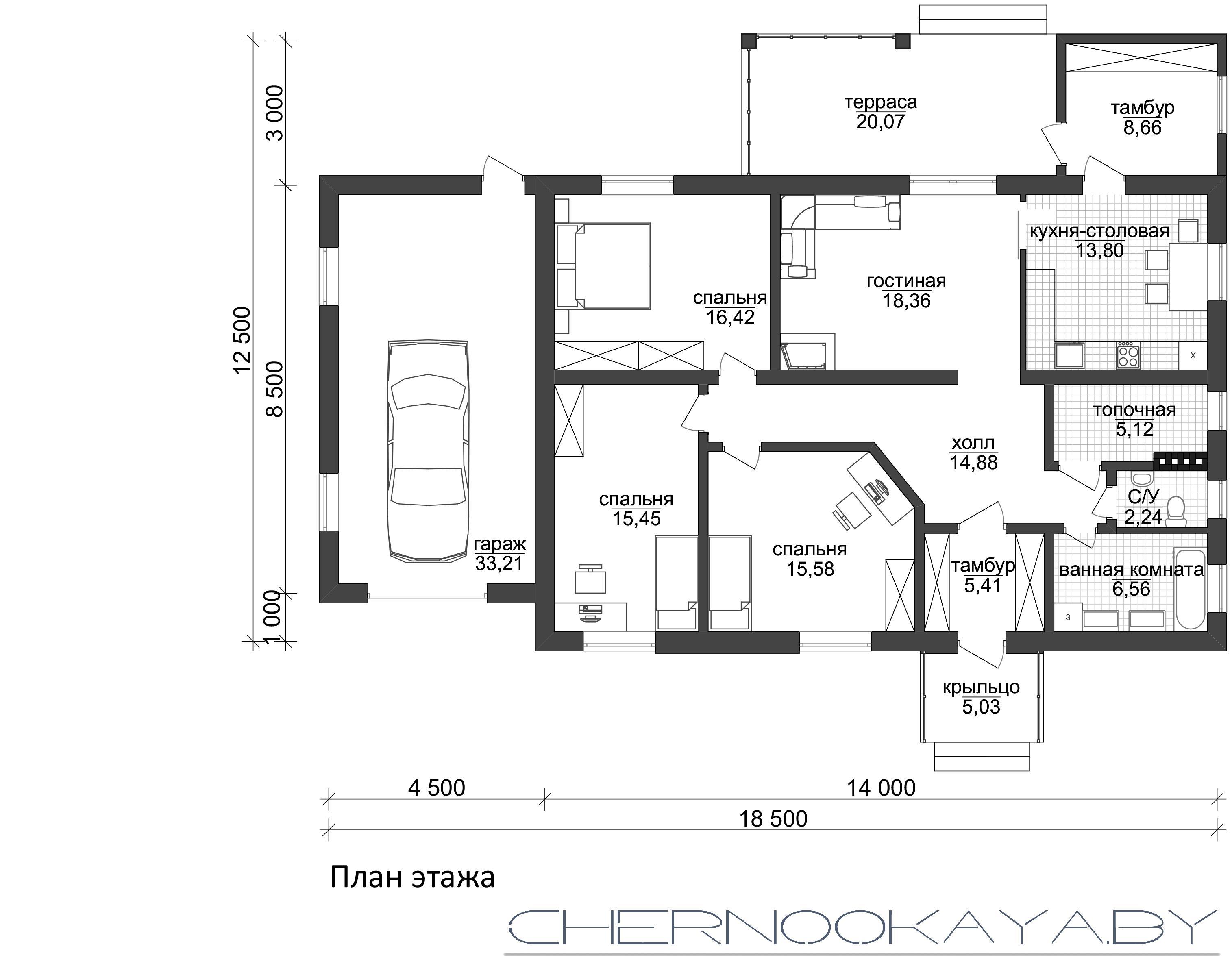 Проект одноэтажного жилого дома с гаражом 1581 план