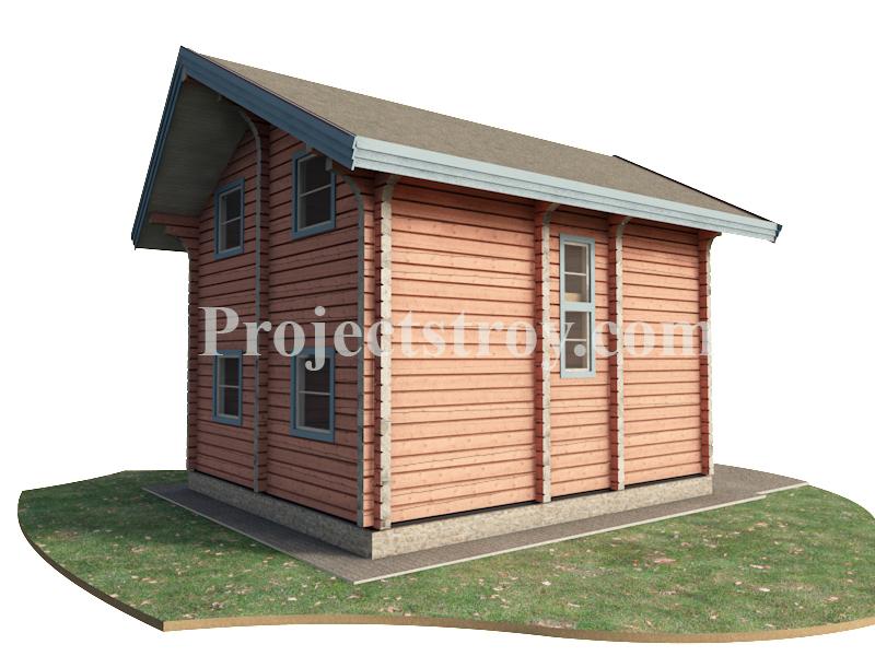 Проект дома из лафета 6.5 х 7.5 м фасад