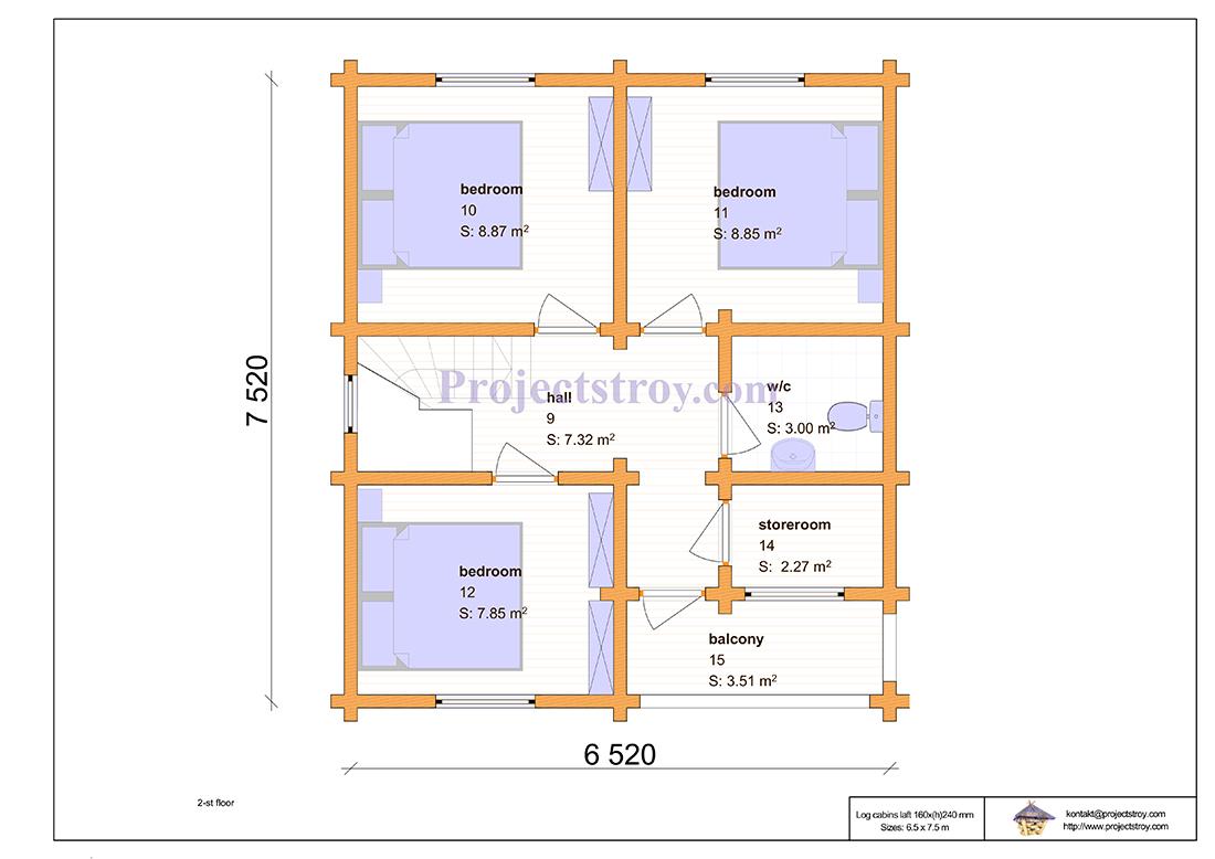 Проект дома из лафета 6.5 х 7.5 м план