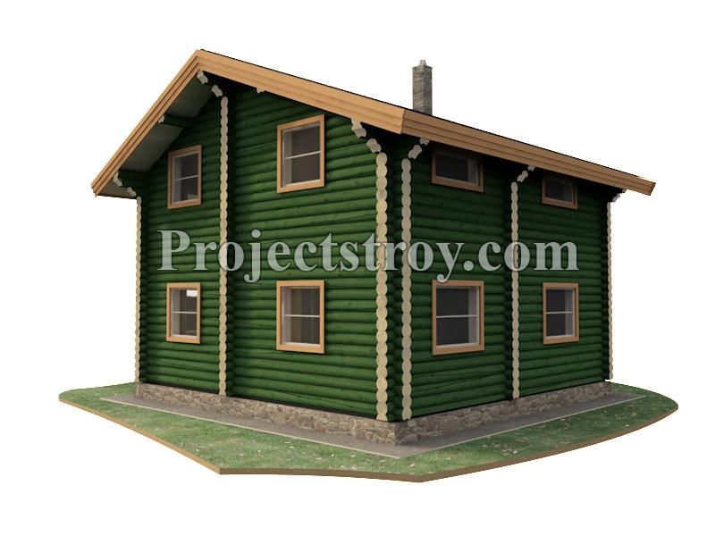 Проект дома из оцилиндрованного бревна 10 х 10 м  фасад