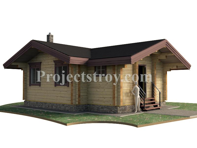 Проект одноэтажного дома из бруса 7.8 х 7.4 м фасад