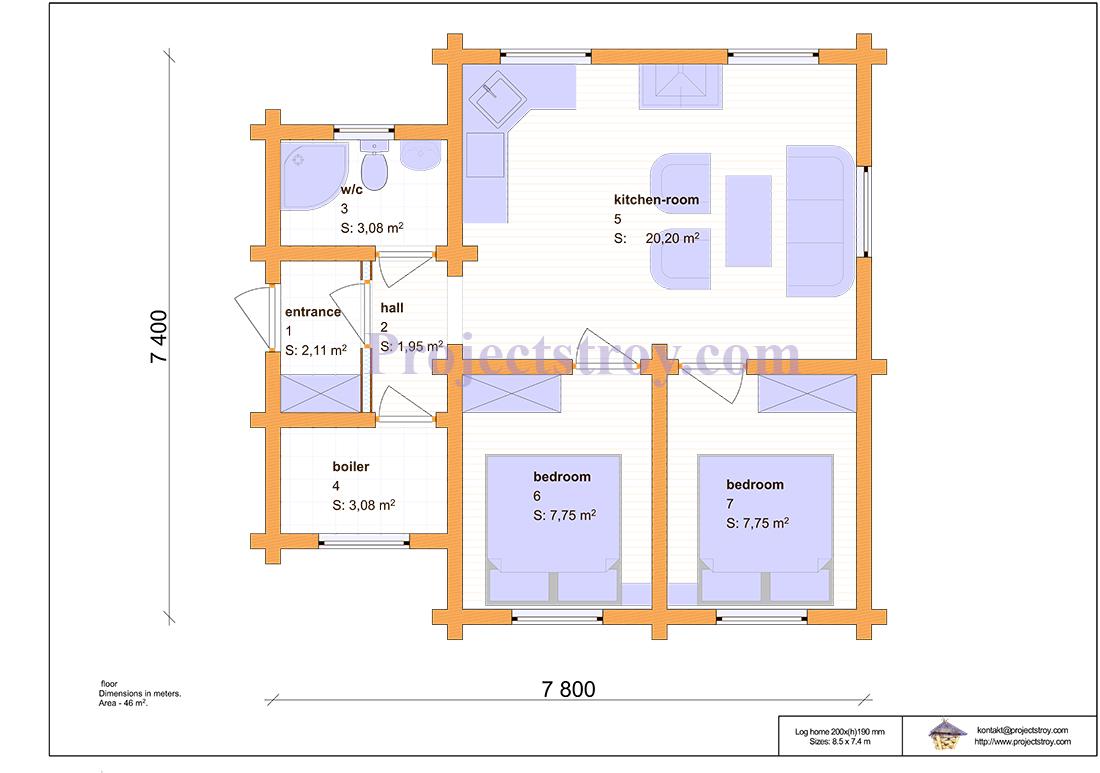 Проект одноэтажного дома из бруса 7.8 х 7.4 м план