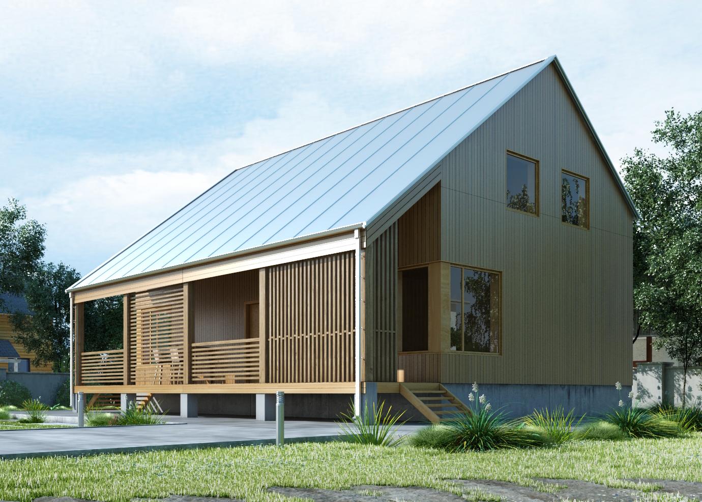Проект каркасного дома. фасад