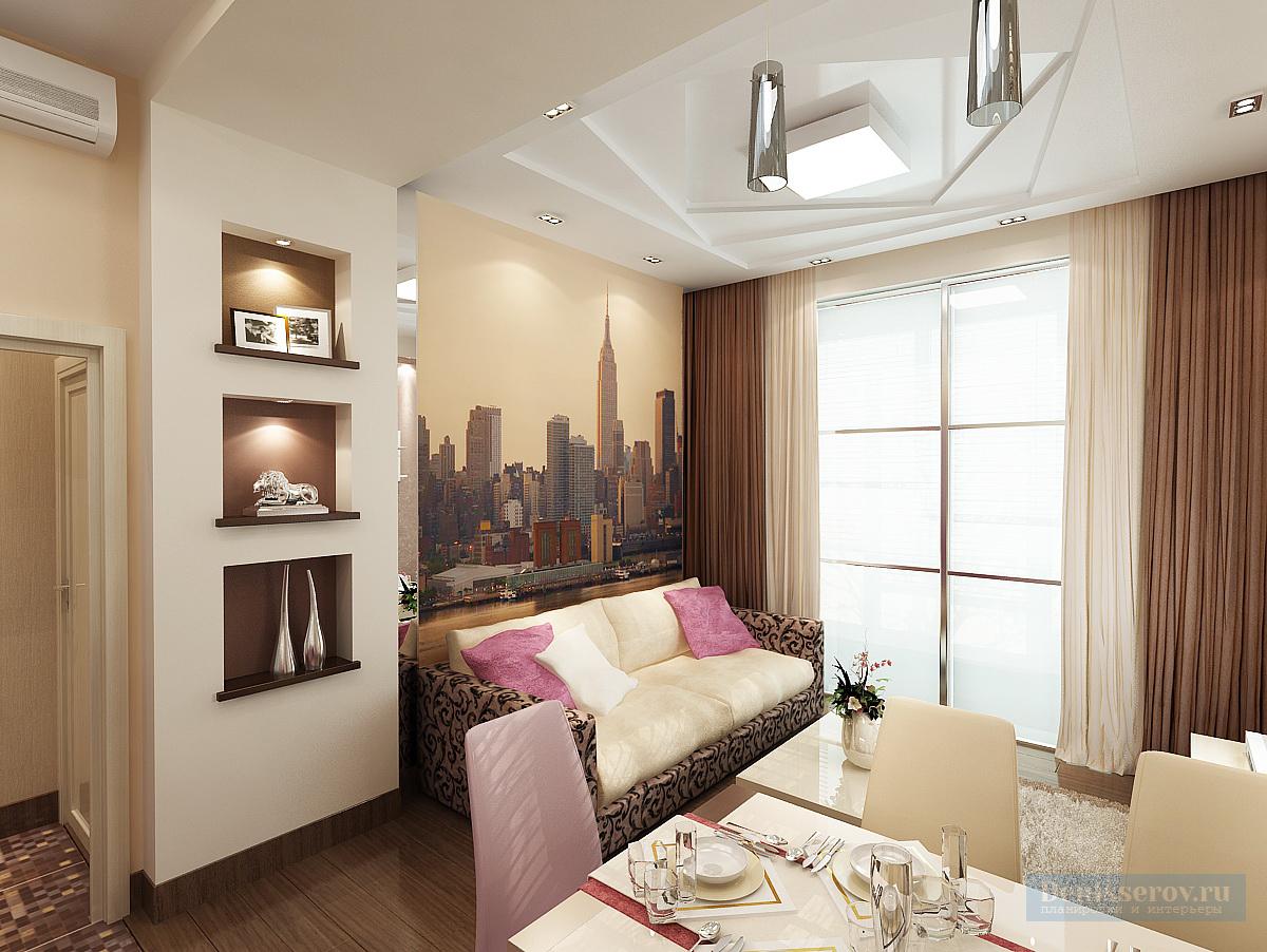 Гостиная - кухня 20 кв. м в современном стиле с балконом - л.