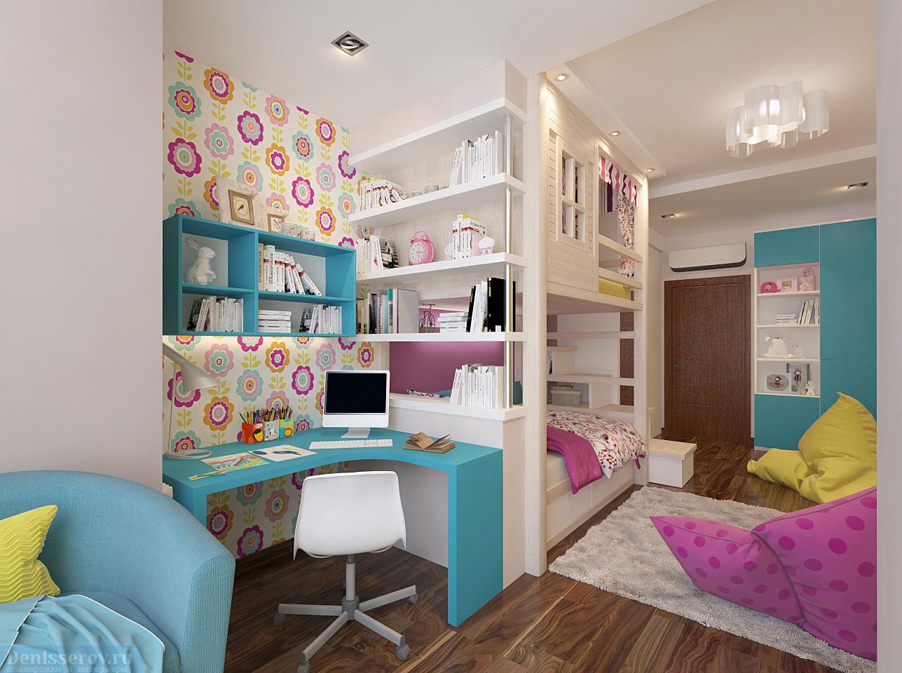 Детская комната для девочки дизайн 16 метров