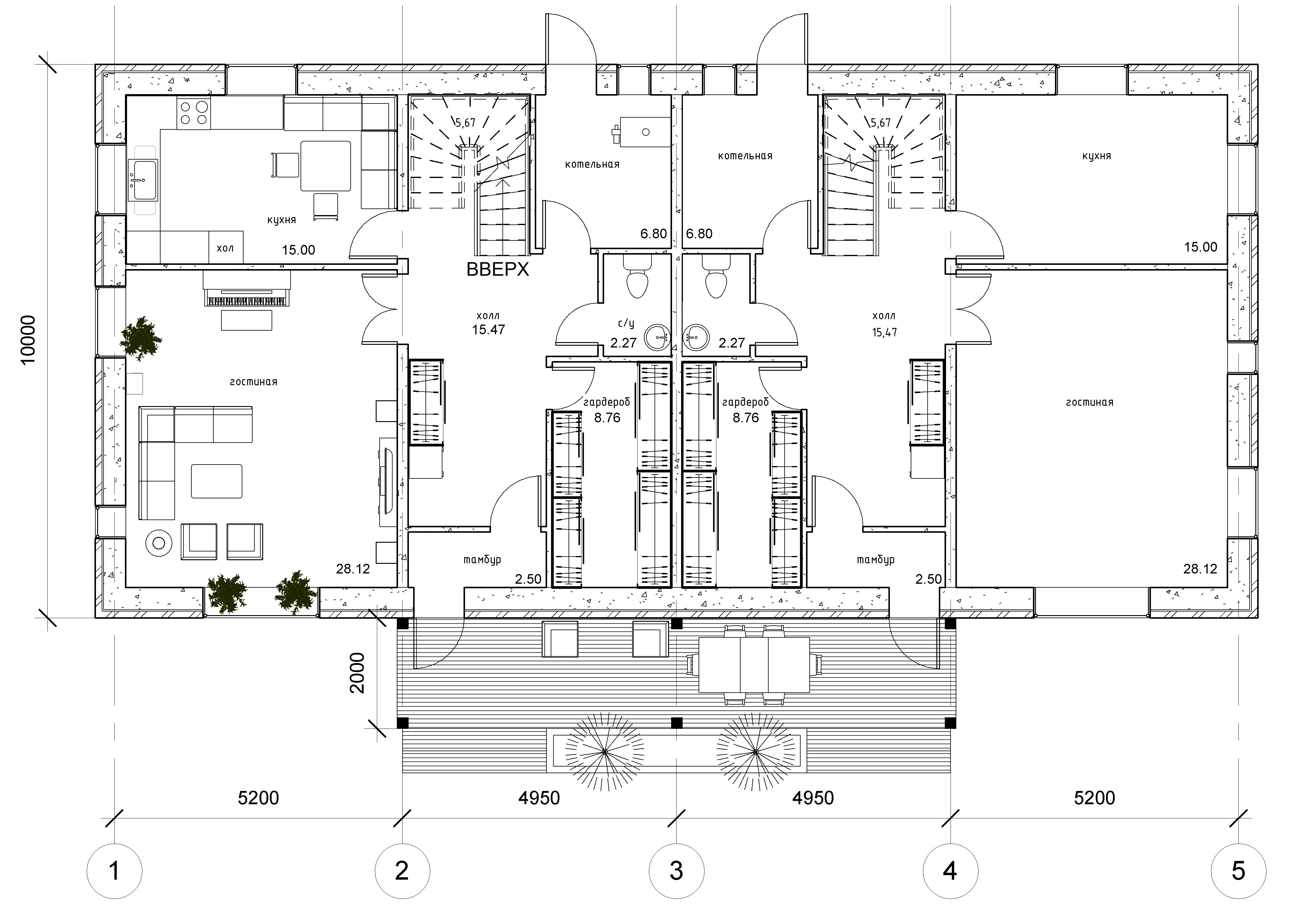 Дом на две семьи. план