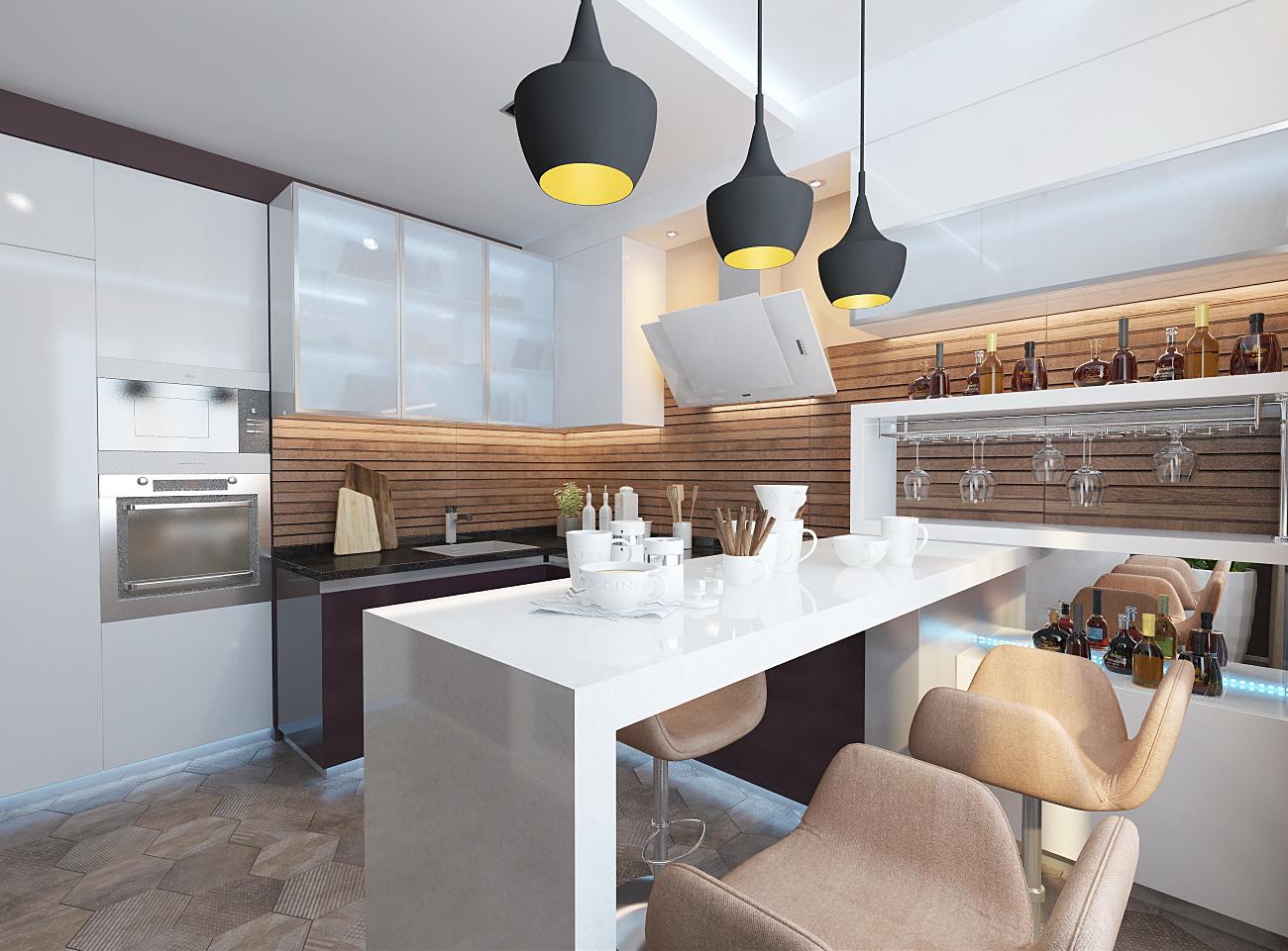 Дизайн кухни гостиной 12 метров в современном стиле