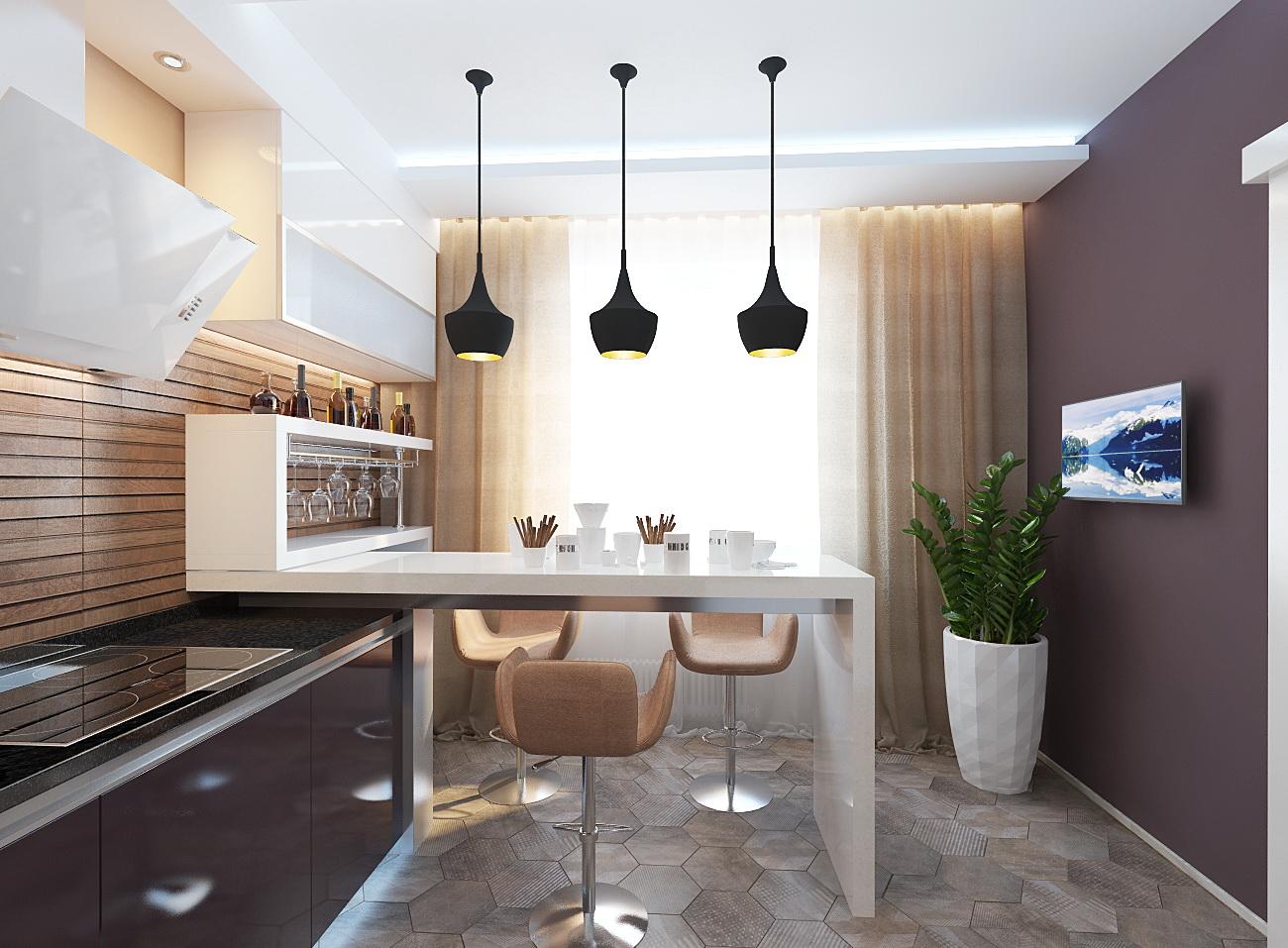 Дизайн кухни 13 кв м в современном стиле