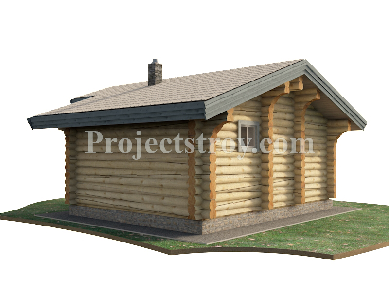 Проект бревенчатой бани 6.5 х 7.5 м - 35 кв. м фасад