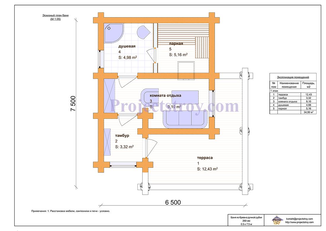 Проект бревенчатой бани 6.5 х 7.5 м - 35 кв. м план