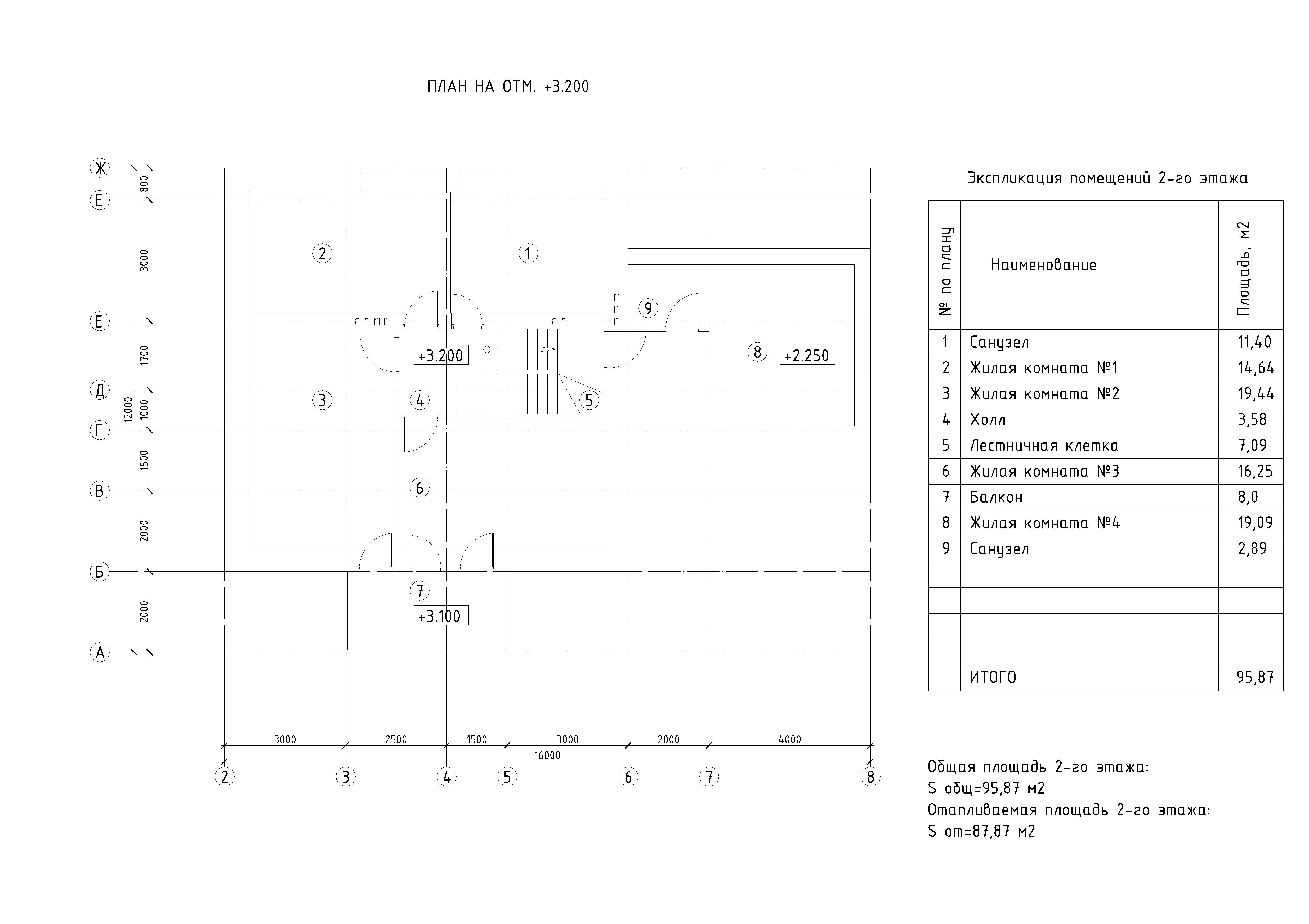 Рабочий проект 2-х этажного жилого дома план