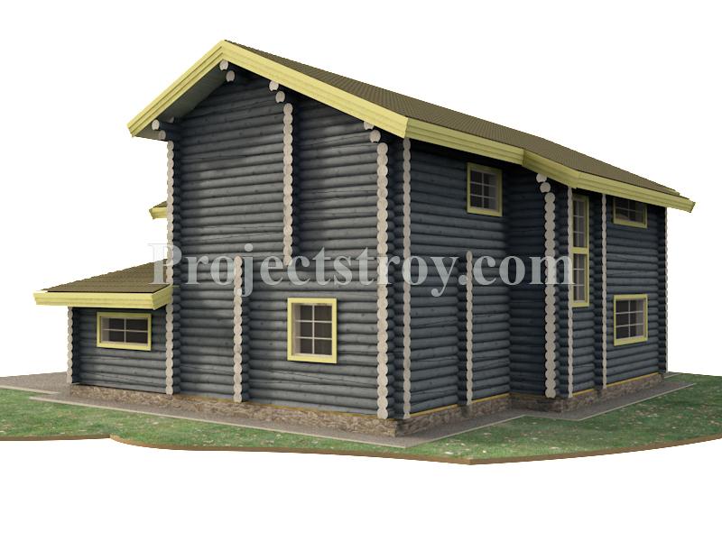 Проект загородного дома из бревна 15 х 12.8 м фасад