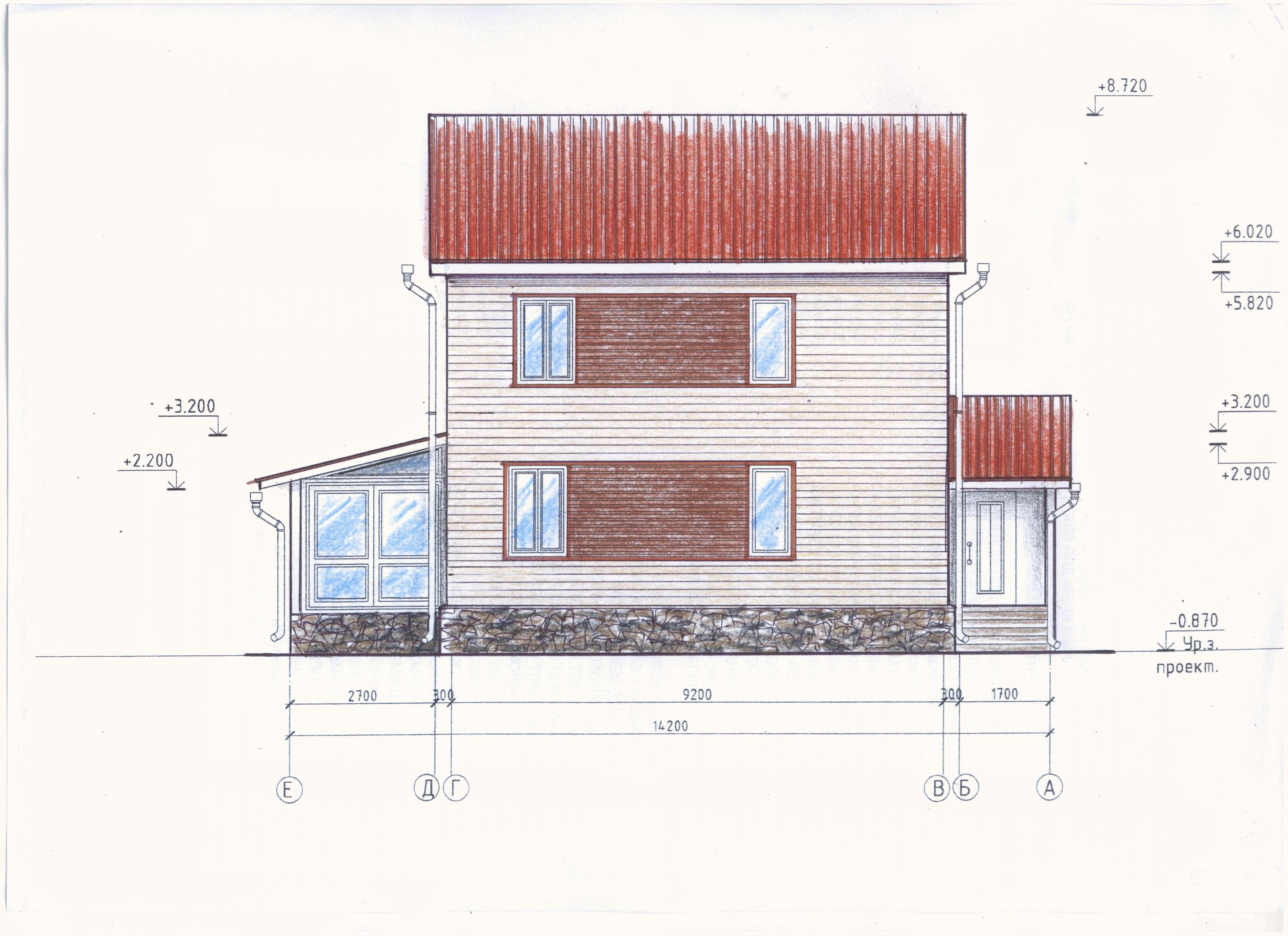 Рабочий проект компактного 2-х этажного дома фасад