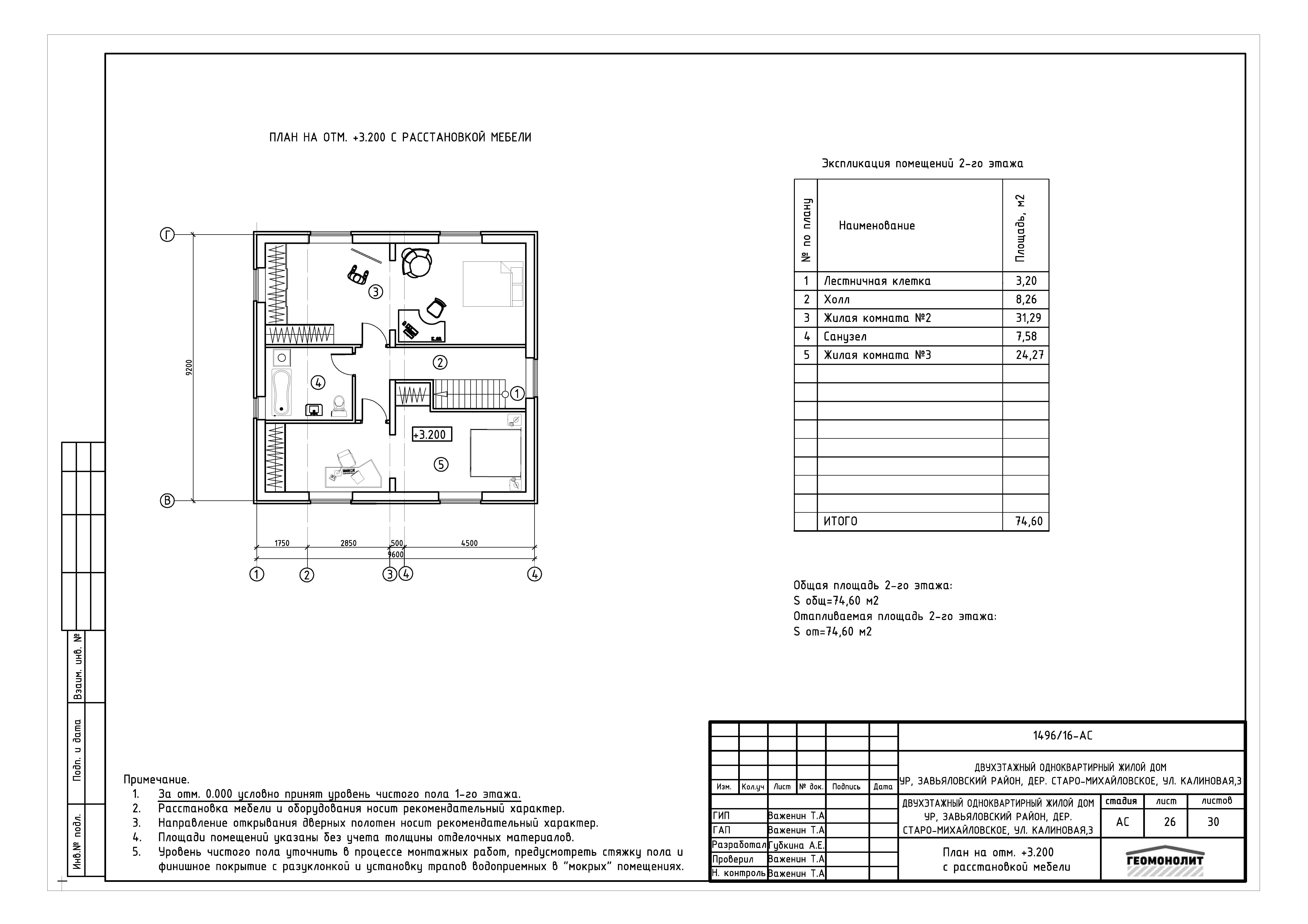 Рабочий проект компактного 2-х этажного дома план