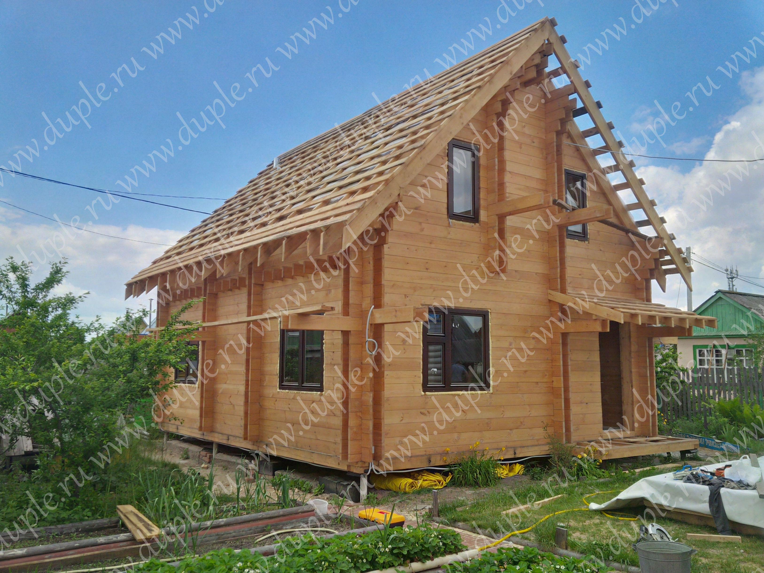 Дом по технологии двойной брус фасад