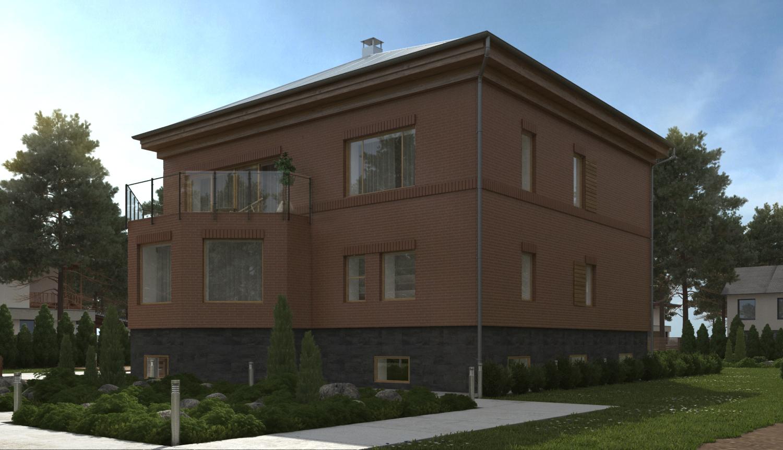 Проект дома с гаражом и террасой фасад