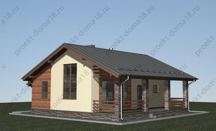 Проект одноэтажного дачного дома. фасад