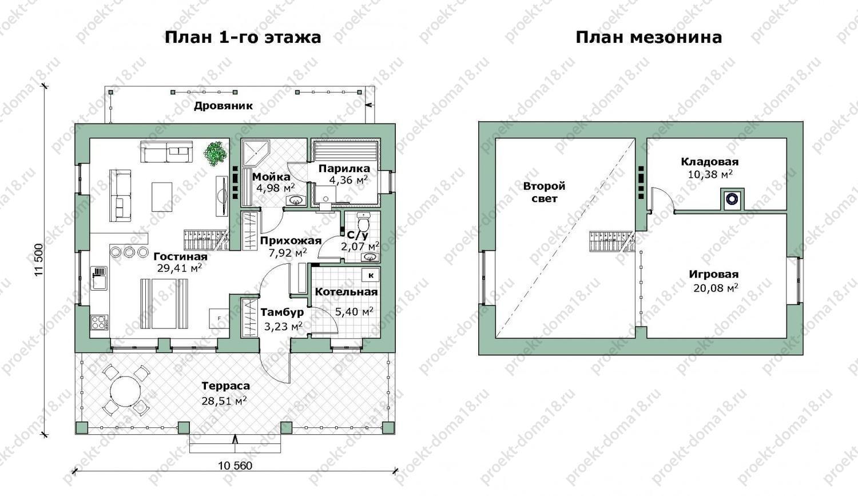 Проект одноэтажного дачного дома. план