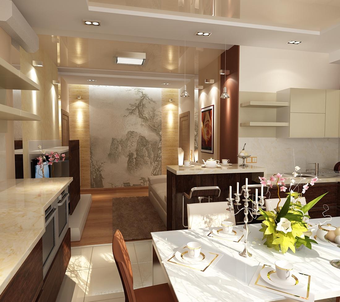 Столовая гостиная дизайн 25 кв.м