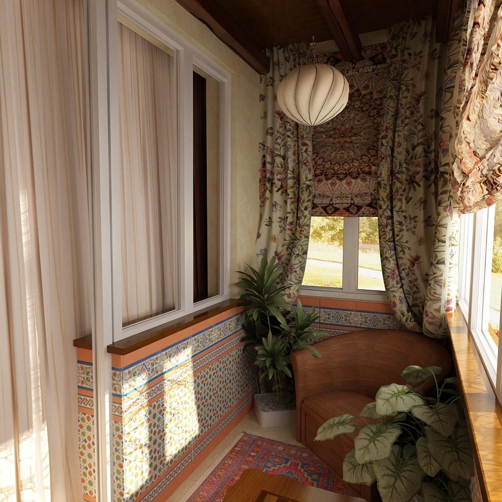 Лоджия в гостиной 3 кв. м в современном стиле - интерьеры кв.