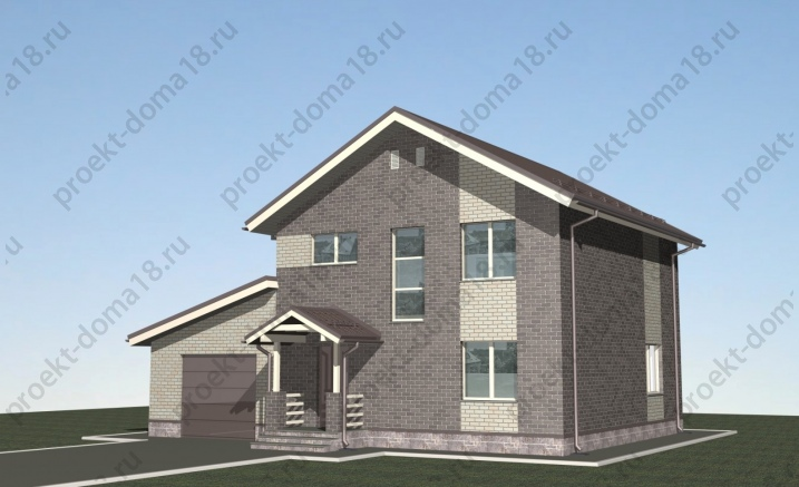 Проект дома из газобетона размерами 10х13 фасад