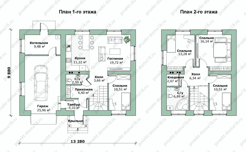 Проект дома из газобетона размерами 10х13 план