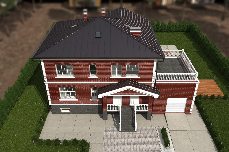 Проект коттеджа с гаражом и террасой. фасад