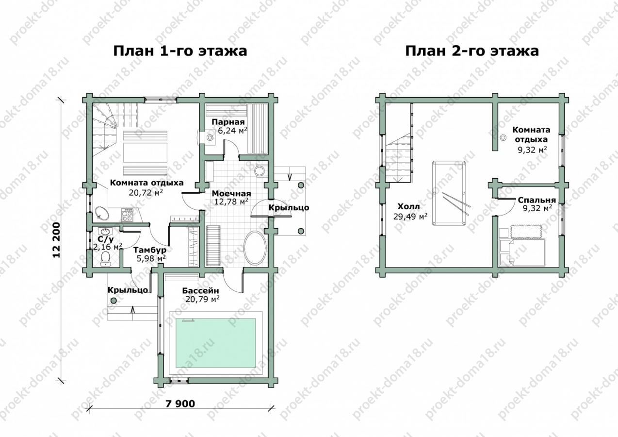 Гостевой дом-баня план