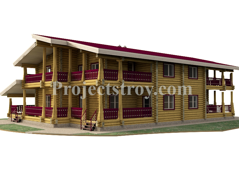 Дуплекс дом из бревна на две большие семьи  фасад