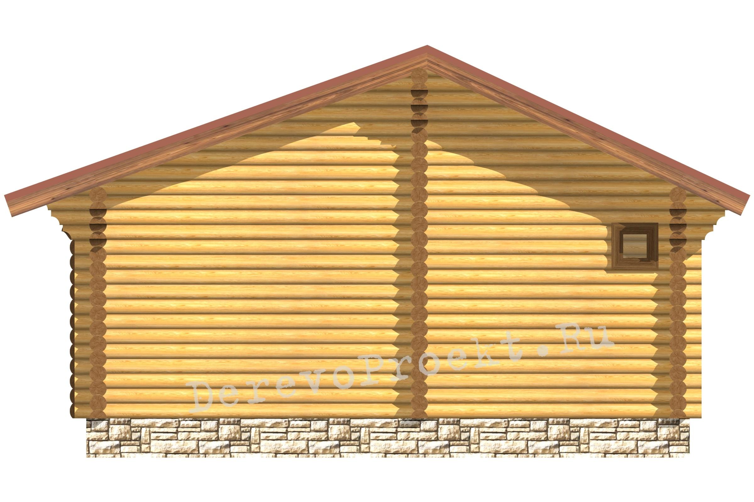 Проект треугольной бани 7.4м х 7.4м ОЦБ 220мм фасад