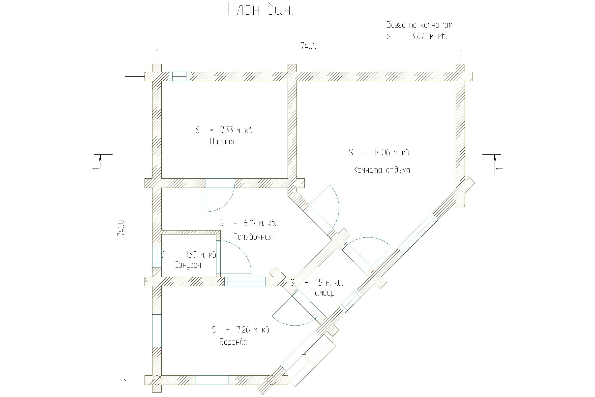 Проект треугольной бани 7.4м х 7.4м ОЦБ 220мм план