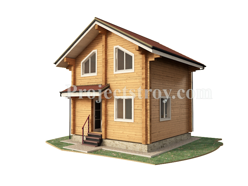 Дом из бруса  6 на 6 м фасад