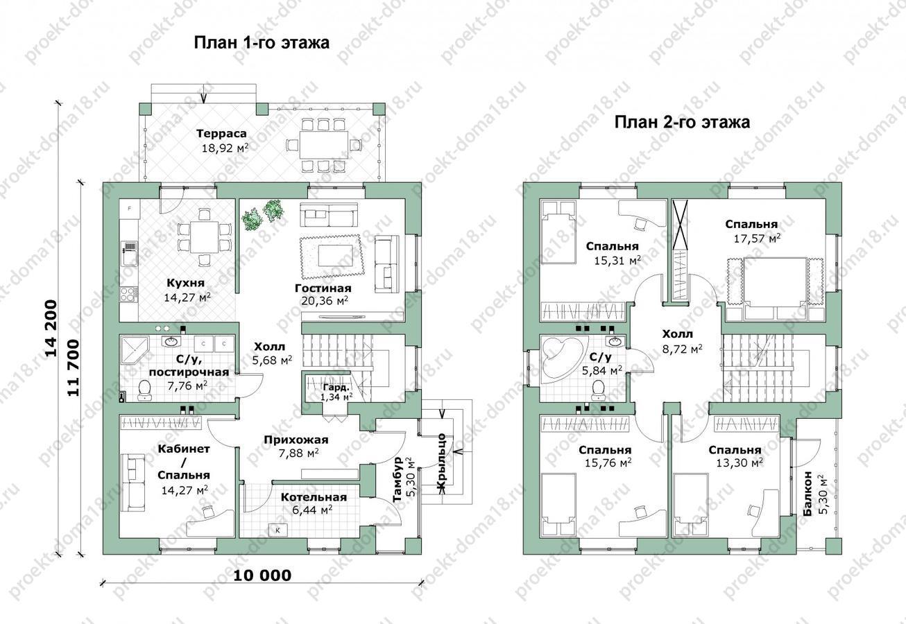Проект дома 10х11 с балконом план